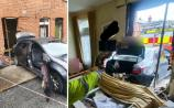 PHOTOS: Car ploughs through wall and ends up in living room