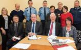Mountmellick Neighbourhood Watch group with Minister Charlie Flanagan and local Gardaí. Photo: Denis Byrne