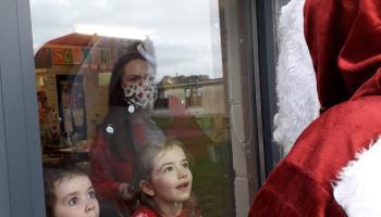 PHOTOS: Socially distanced Santa visits a Laois school