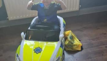 Four-year-old Cathail Holohan becomes an honorary member of An Garda Síochána
