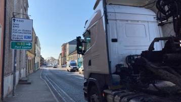 The N80 road through Mountmellick. Pic: Lynda Kiernan