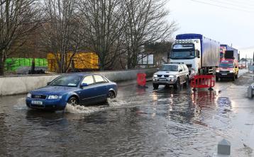 A flood on the Barrow Bridge in Portarlington in 2017. Photo: Michael Scully.