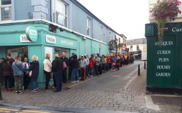 The queue for Electric Picnic tickets at 09:00am on Friday morning stretched from Colgan's around Bull Lane and into Lyster Square