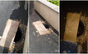 Exposed hole in path outside Laois playground
