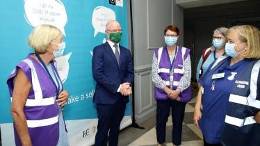 PHOTOS: Minister for Health in Laois visiting HSE vaccination centre