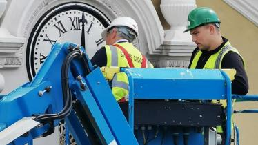 PHOTOS: High time! Laois town clock hoisted into place after 160 years