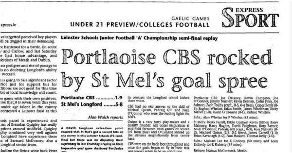 Remember When ( 2006 ): Portlaoise CBS rocked by St Mel goal spree