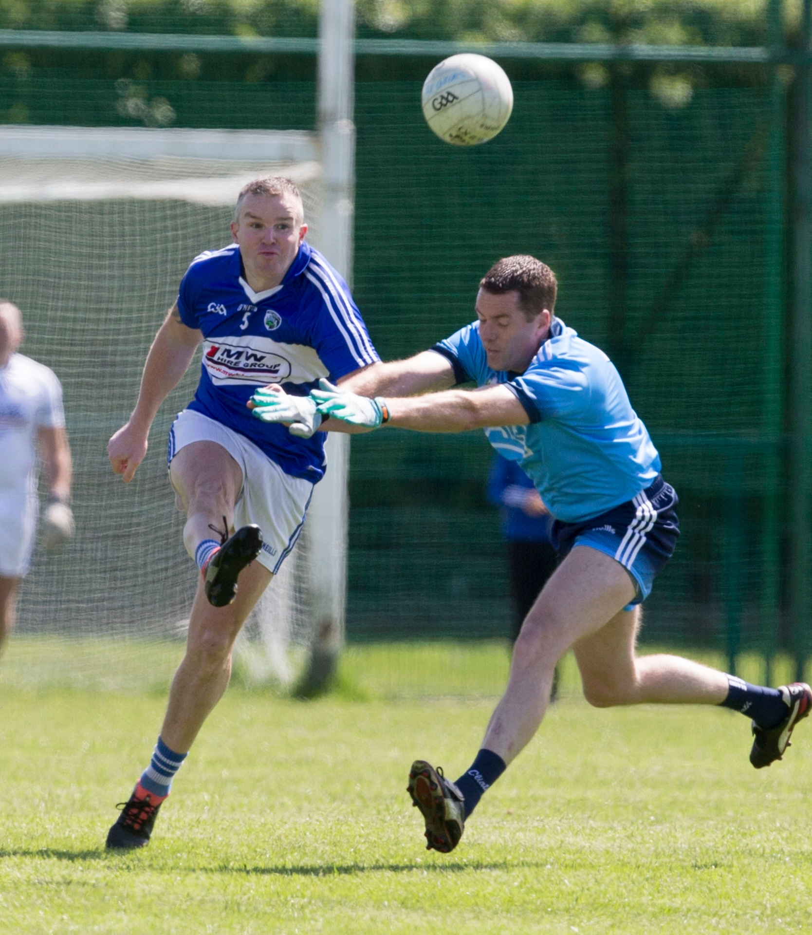 Brian McEvoy clears for Laois against Dublin in the All Ireland Masters Football Championship at Stradbally. Picture: Alf Harvey.