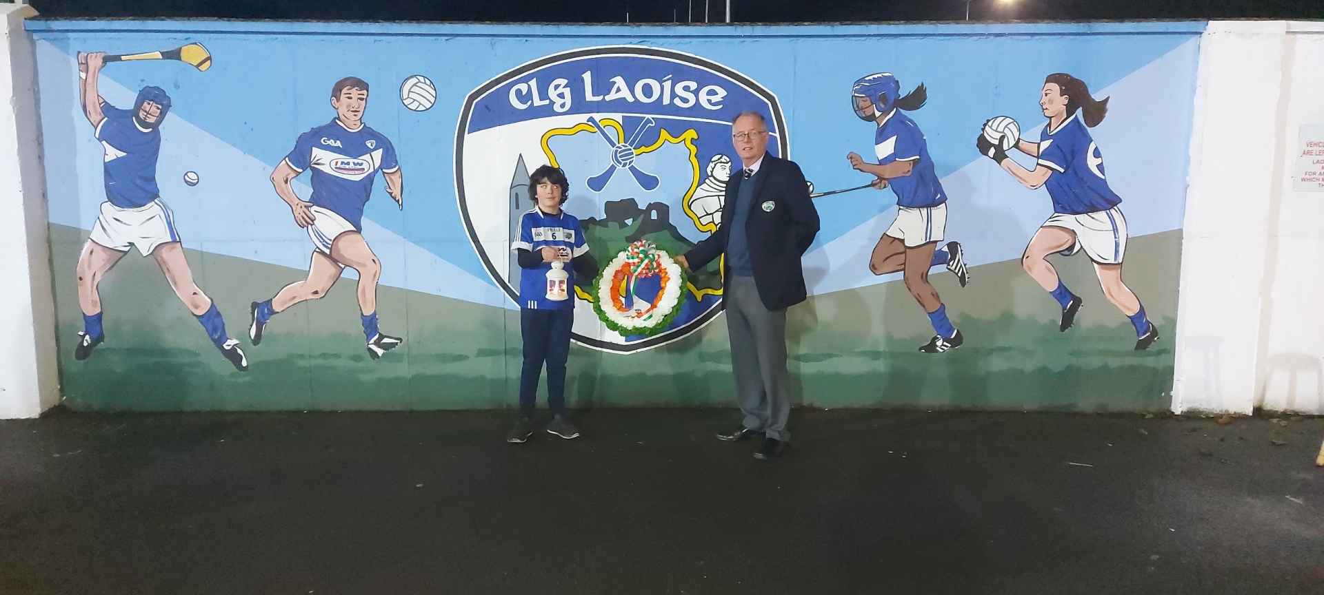 Laois GAA Chairman Peter O'Neill pictured with his nephew  Jack Bergin in O'Moore Park
